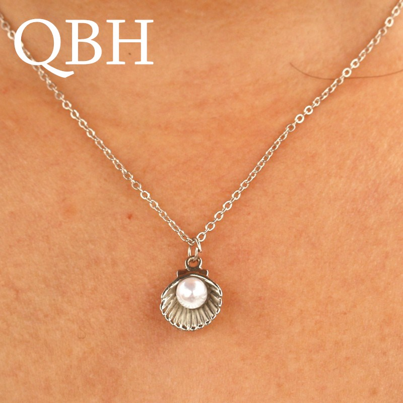 NK943 New Punk Vintage Imitation Pearl Shell Short Chain Necklace Retro Gothic Clavicle Collares For Women Jewelry Pendant Colar
