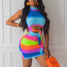 Causey  Halter Multi Striped Print Dress Women Backless Sexy Bodycon 2019 Summer Dress Bohemian Beach Dresses james e causey twisted