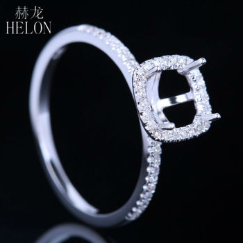 HELON 6x6mm Cushion Cut Semi Mount Engagement Sterling Silver 925 Pave White CZ Wedding Refined Ring Women's Jewelry - discount item  20% OFF Fine Jewelry