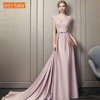 Стильные розовые длинные вечерние платья 2019 сексуальное вечернее платье для женщин с глубоким вырезом эластичная атласная бисерная шнуров