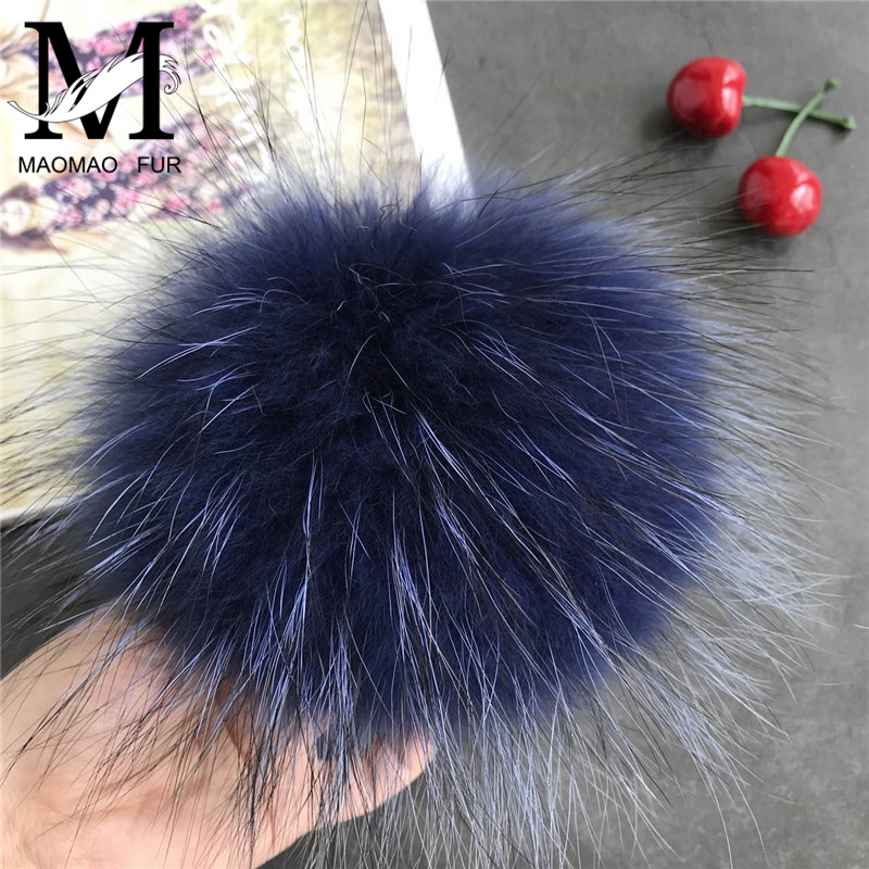 Real Raccoon Fur Pom Pom Key Chain Real Fur Pompoms Hat Winter DIY Multicolor Fur Balls For Shoes Bag Accessories With Buttons