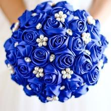 Free shipping Sapphire Blue Rose flower bridal brooch bouquet Wedding Bride 's Jewelry Pearl Rhinestone Cloth fabric Bouquets