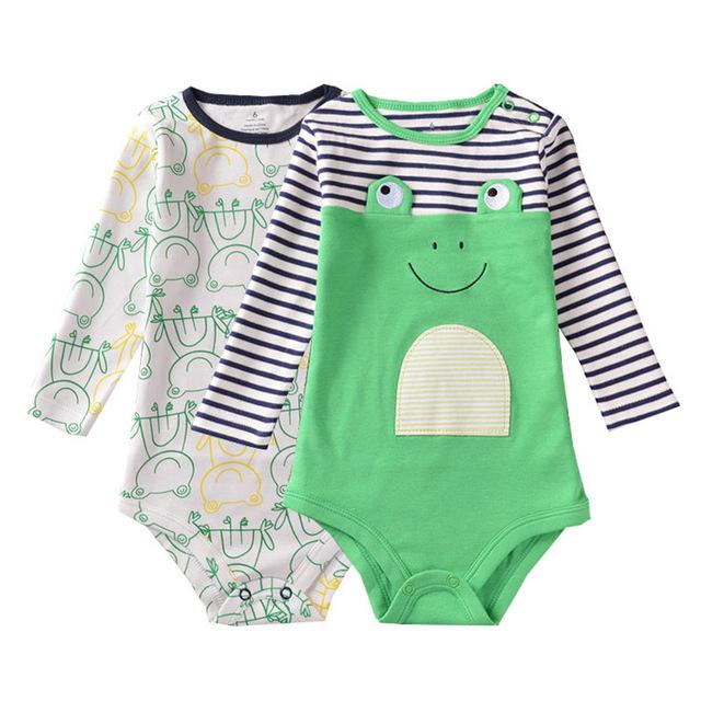 Mamelucos del bebé muchachas de los muchachos de traje de niña de 0-24 m ropa de abrigo cabrito del bebé mono recién nacido 2 unids baby clothing mameluco del desgaste del traje