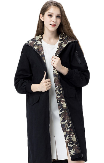 2016 Women Fashion Casual Hooded Straight Thin Coat Long Loose Trench Windbreaker Wide Waisted Coats Plus Size AWC0019