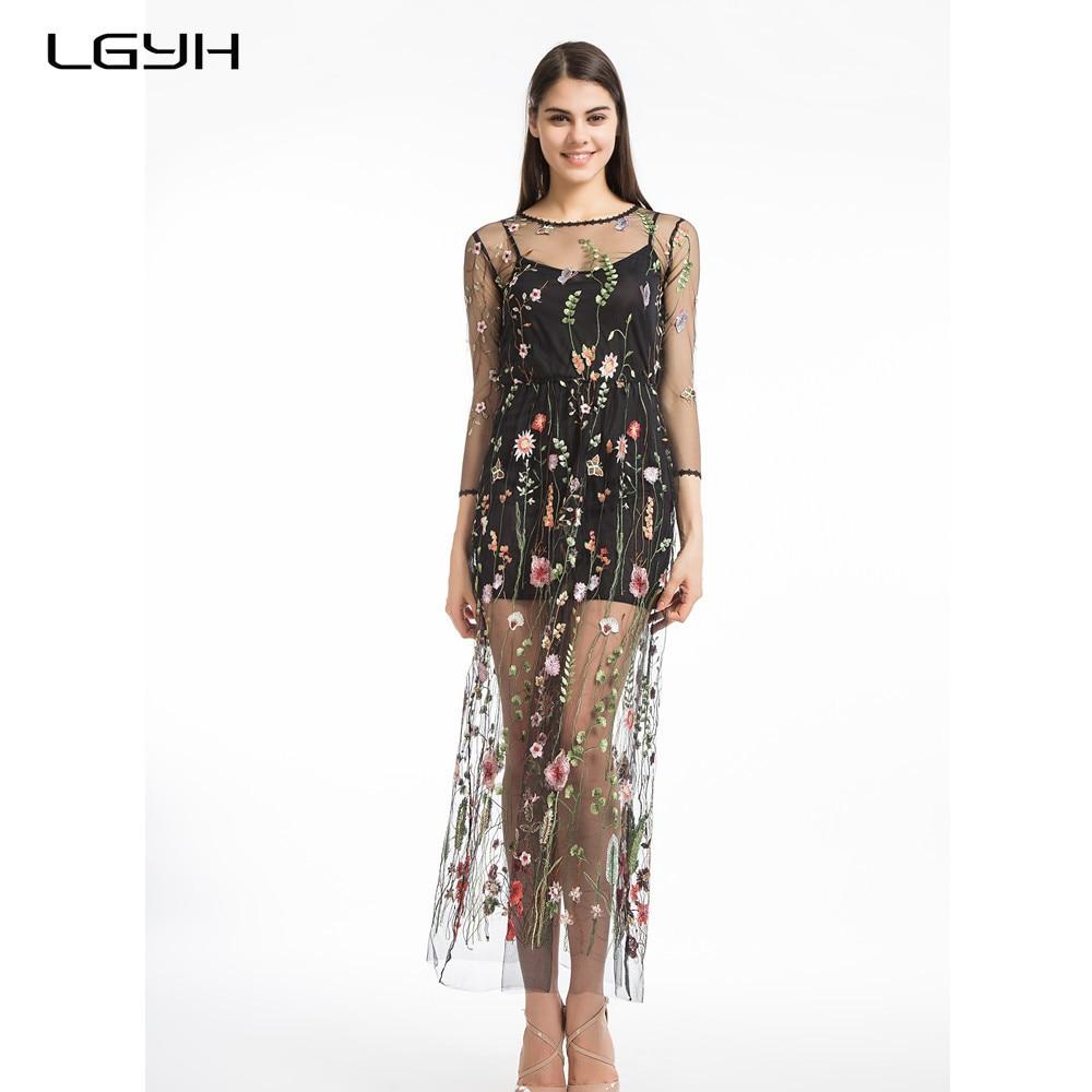 Lgyh 2017 Desigual Luxury Women Clothing Sexy Black Mesh -8884