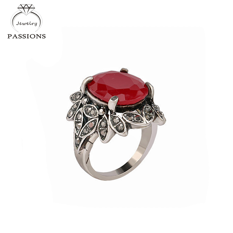 Top Quality Fashion Vintage Jewelry Ancient Red Rhinestone Antique Rings For Women Crystal Anillos Bague Gifts