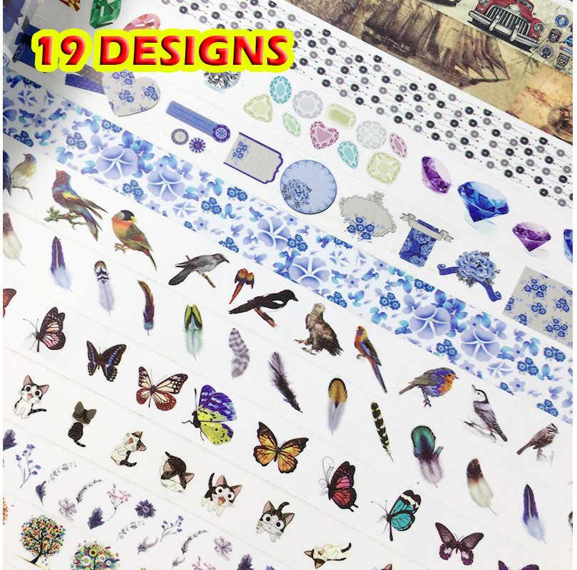 19 تصاميم ساعة نمط ختم الطيور السيارات cad معلما اليابانية اشي الزخرفية لاصق diy اخفاء الشريط ورقة التسمية ملصقا هدية