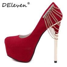 2016ใหม่Vogue R Hinestoneแพลตฟอร์มส้นสูงซูเปอร์ผู้หญิงรองเท้าเซ็กซี่ปั๊มแต่งงานพรหมพรรคชุดรองเท้าZapatos Mujerสีแดงสีดำ