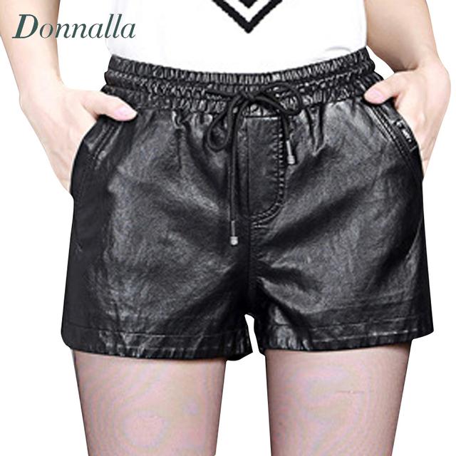 Shorts mulheres Outono & Inverno Das Senhoras Elástico Na Cintura Casual Bota De Couro PU Calções de Moda Shorts De Couro Do Falso Das Mulheres Plus Size
