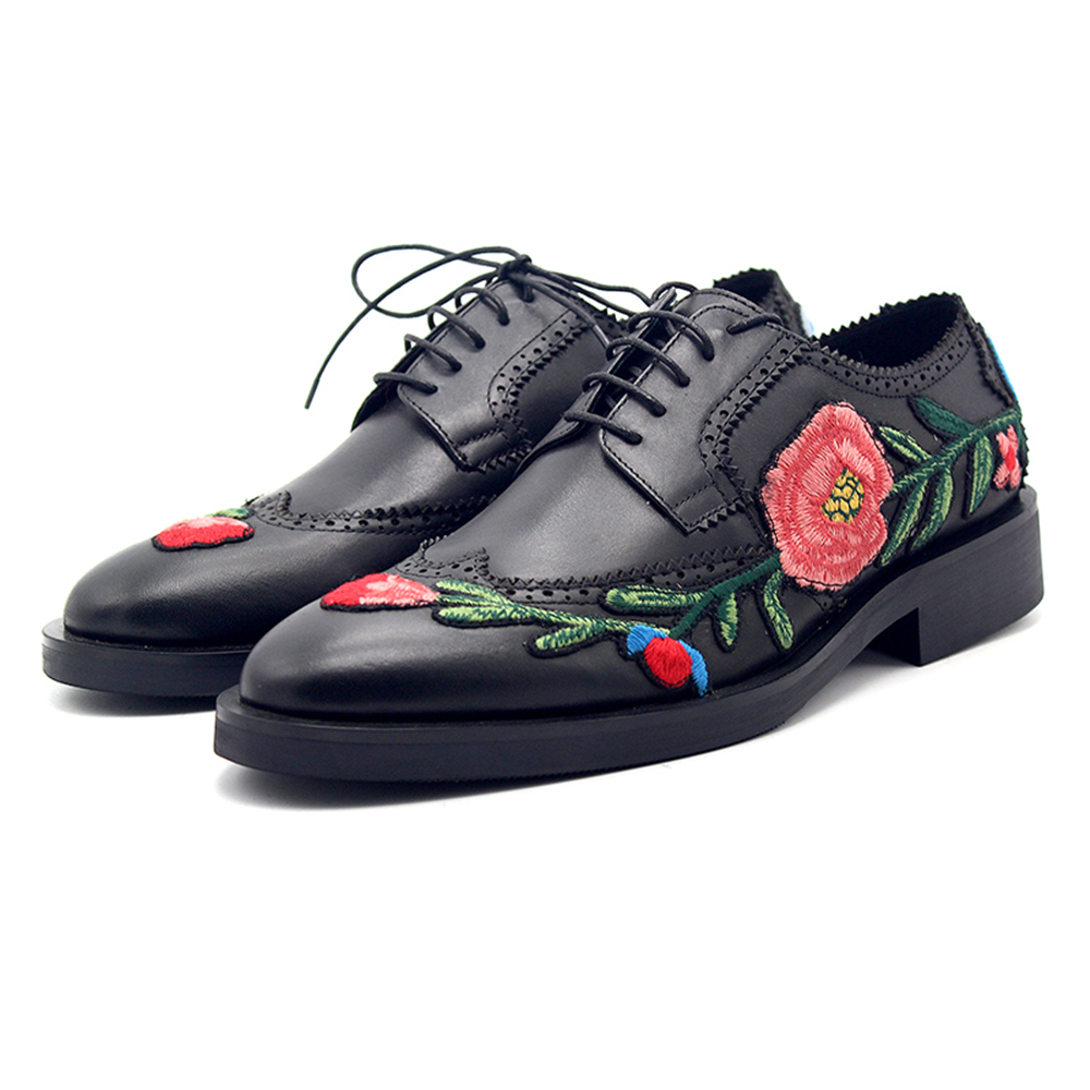 New zapatos de hombre embroidered plum rose groomed brock style carved face with gentleman leather shoes male mens dress shoes все цены