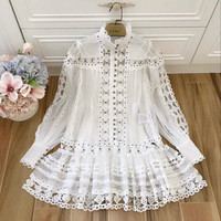 Runway Women's Dress Luxury Embroidery Lace Sexy Hollow Out 2019 Designer Two Pieces Ladies Dresses Rivet Beading Lantern Sleeve