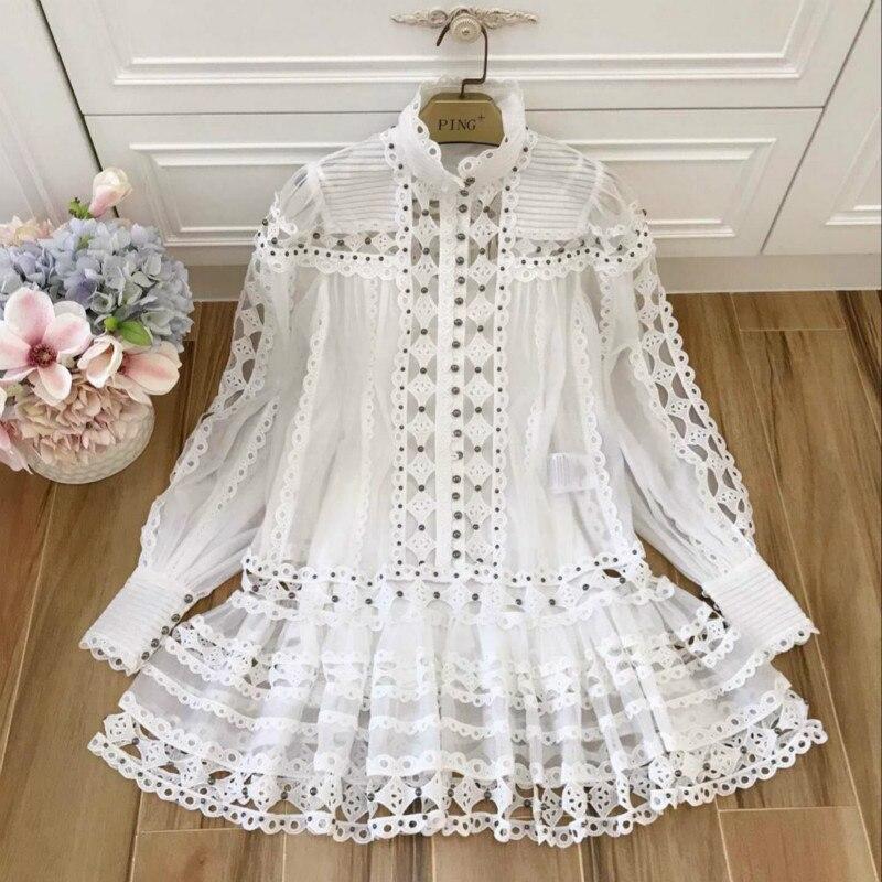 Piste femmes robe de luxe broderie dentelle Sexy évider 2019 Designer deux pièces dames robes Rivet perles lanterne manches