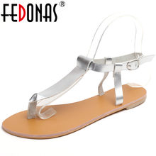 FEDONAS Concise Round Toe Buckle Thin Strap Women Sandals 2019 Summer New Shallow Women Flats Rome Beach Casual Shoes Woman(China)