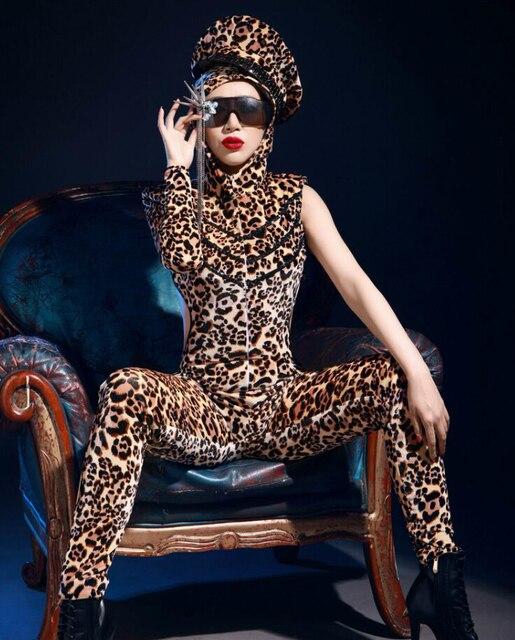 Леопард комбинезон костюмы женская мода певица ds костюм dj одежда sexy боди этап производительность танец износа