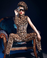 Leopard jumpsuit costumes womens fashion female singer ds costume dj clothes sexy bodysuit stage performance dance wear