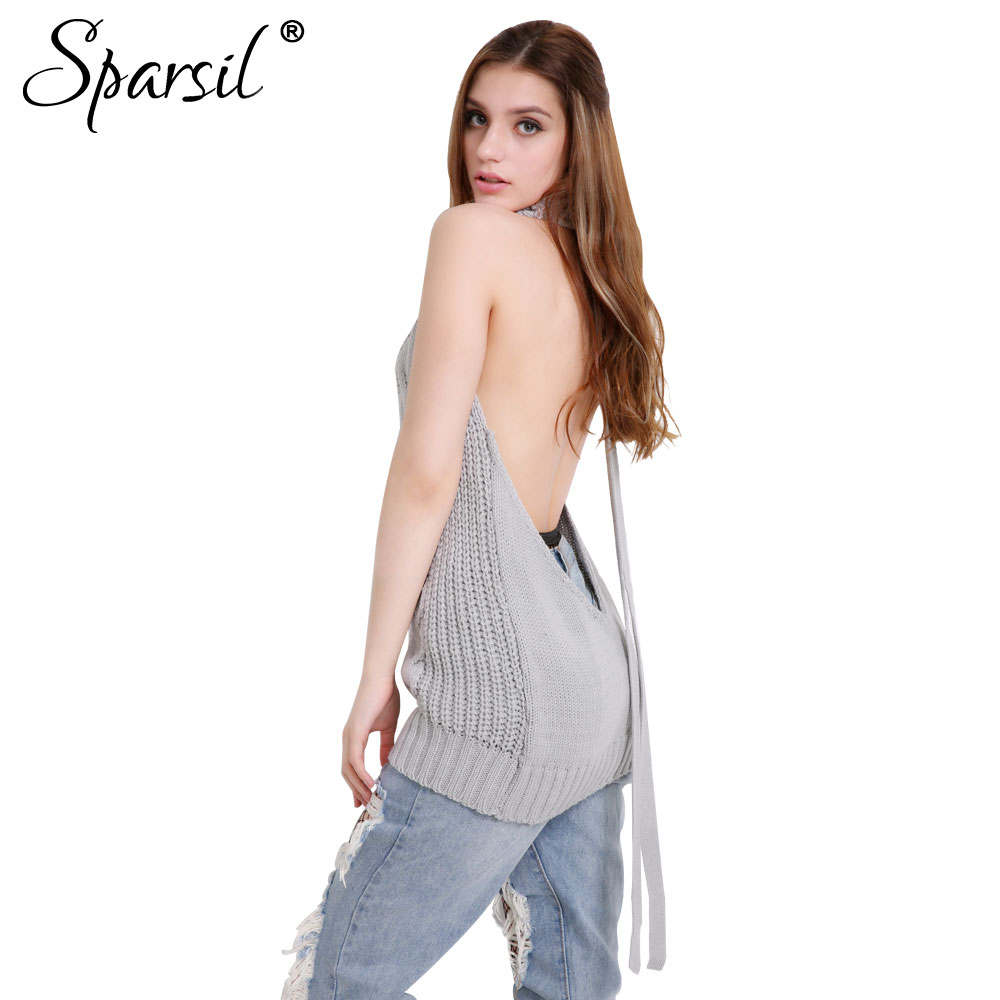 Sparsil Sexy Open Back Knitted Sweater Anime Cosplay Turtleneck Sleeves Back Exposed Tie Pullovers Novelty Long Knitwear