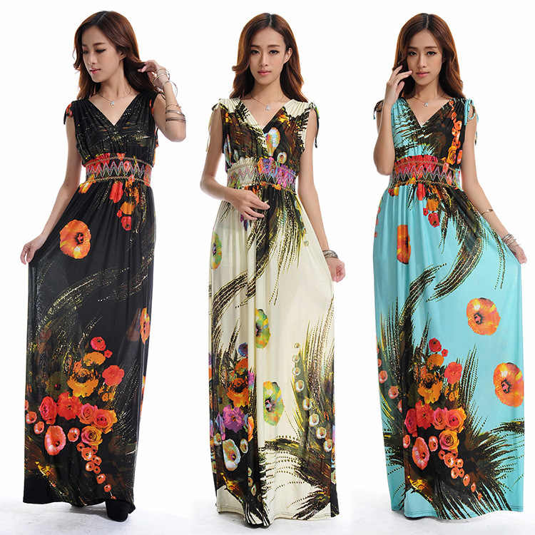 db065fa561a84 Summer dress Beach Dress Long Bohemian Dress Plus Size 6XL Jupe Atacado  Robe Longue Roupas femininas Long Maxi Dress
