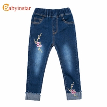 цена на Babyinstar 2020 New Girls Jeans Pants Spring Denim Jeans Kids Clothing Children Pants Casual Trousers Jeans For Girls Clothes
