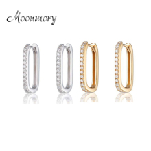 Moonmory 2019 100% Real 925 Sterling Silver Oval Huggie Hoop Earrings with Clear Stone With CZ For Women Jewelry