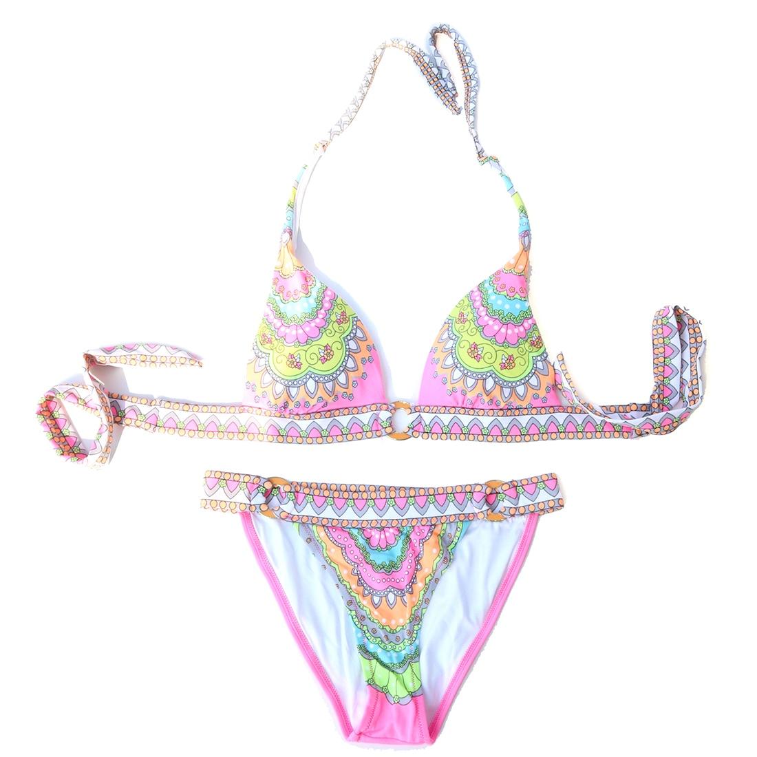 2019 Women Bikini Pink Print Bikinis Swimsuit Vintage Swimming Suit Female Bathing Suit Sexy Swimwear Design Secret Купальник