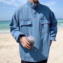 Autumn New Pullover Denim Jacket Men Fashion Wash Solid Color Stand Collar Streetwear Hip Hop Loose Bomber