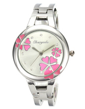 Women's Fashion Flower Crystal Round Stainless Steel Bracelet Woman Metals Bangle Quartz Watch