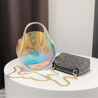 Caker Women Transparent Bag Clear PVC Jelly Small Tote Messenger Bags Laser Shoulder Bags Female Lady