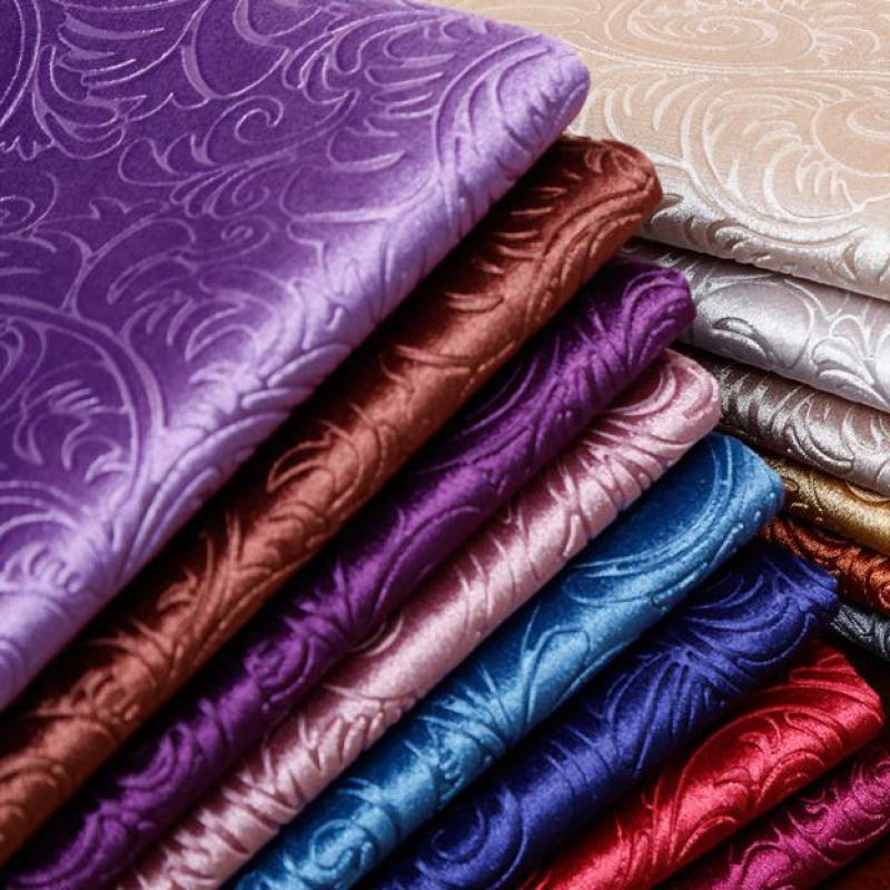 1 Meter Embossed Golden Upholstery Velvet Fabric For Sofa