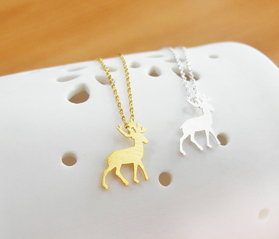 Newest Cute Animal Rudolph Pendant choker Necklace Gold/Silver plated fashion beautiful christmas birthday gifts for lady