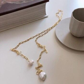 Collar plateado mujer 925, collar largo exagerado con cadena circular, con perlas barrocas grandes, accesorios de lujo para mujer