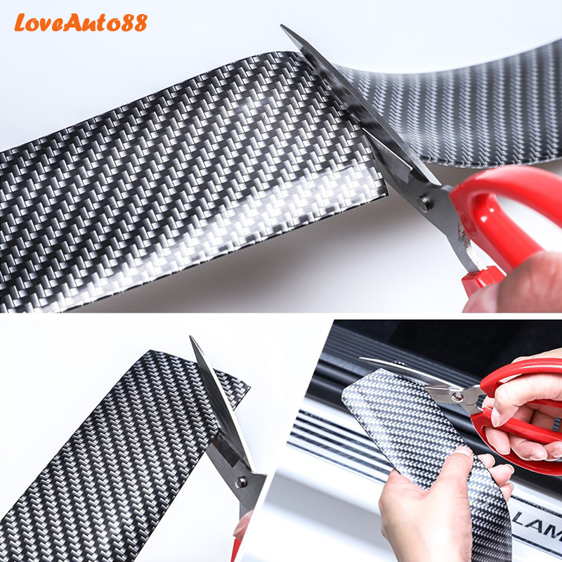 For SEAT LEON CUPRA 2010 2015 Carbon Fiber Rubber door Sill Protector Pedal Welcome Plate Car External Accessories Sticker in Interior Mouldings from Automobiles Motorcycles