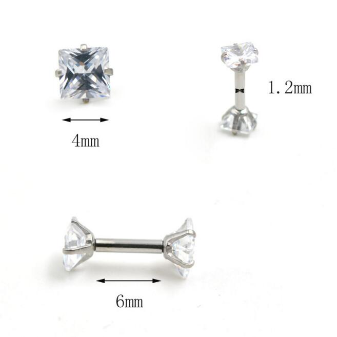 2 Piece 16g 1 2x6x4mm Internally Threaded Clear Round Cubic Zirconia G Square Helix Tragus Ear Piercing Body Jewelry In From