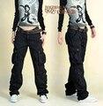 Зима хлопок повседневная брюки мужчины и женщины комбинезоны карман брюки большой ярдов свободные брюки