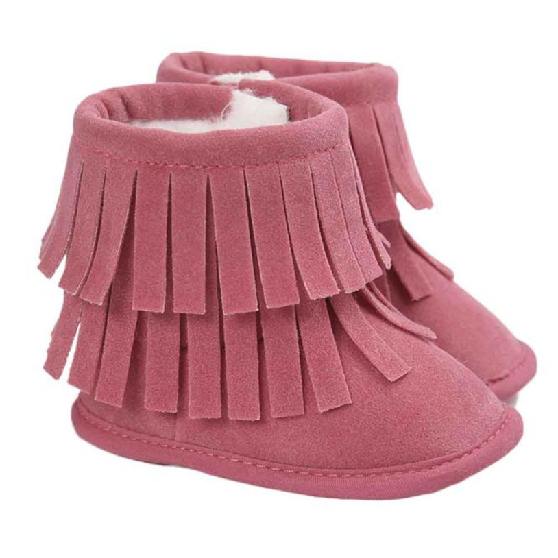 TELOTUNY baby newborn shoes girls winter First Walkers Soft Sole Boots Soft Toddler Shoe 0-18 months Tassels 08C0419