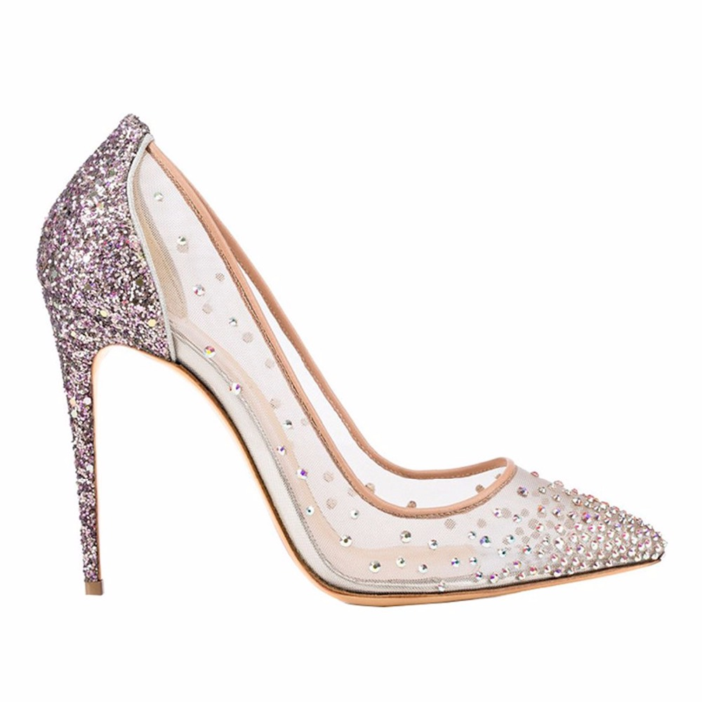 7dbf9798f942e Aliexpress.com   Buy Arden Furtado new 2018 spring summer high heels 12cm  stilettos bling bling crystal clear mesh pumps wedding party shoes big size  from ...