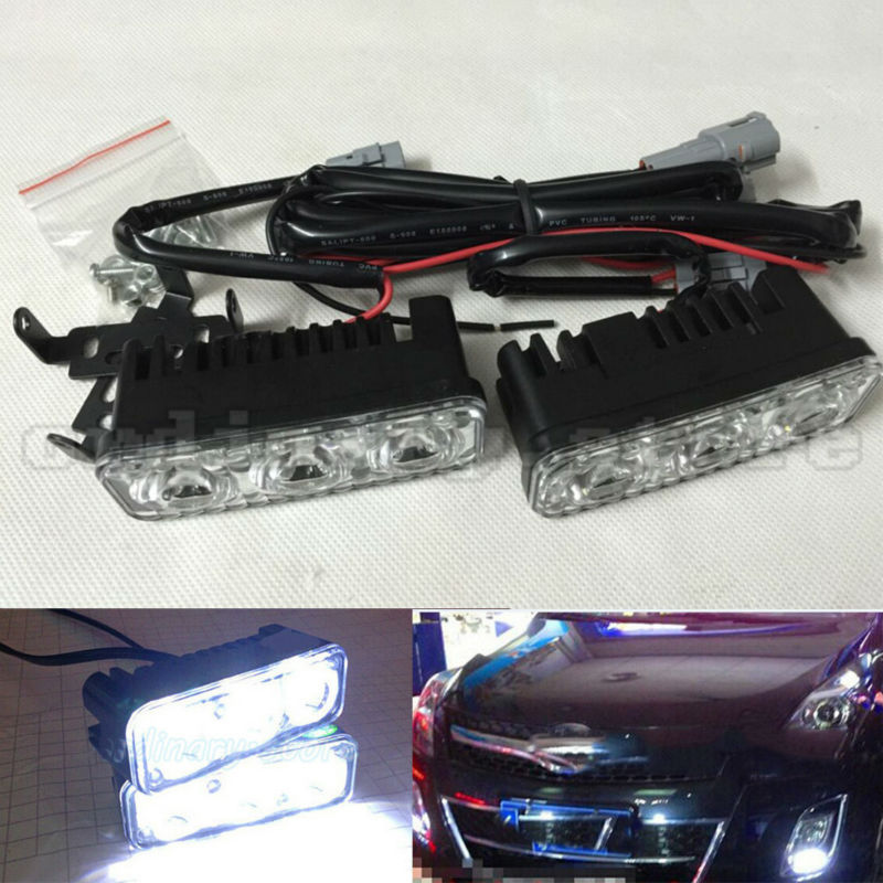 1 Pair Super White Bright 12W 3 LED Car Headlight Daytime Running Light DRL Fog Driving Safety Daylight Head Lamp Waterproof newest update 12w led daytime running light switch waterproof 9led drl car driving fog light lamp 12w high super lighting white