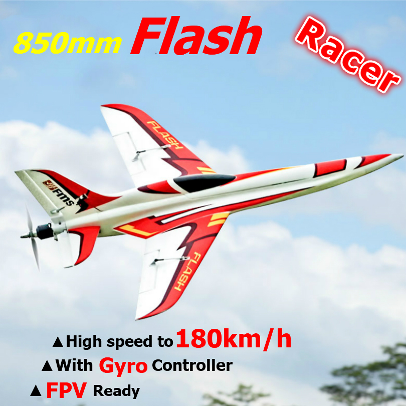 FMS RC Airplane 850mm Flash Racing Racer High Speed to 180km/h FPV Ready with Gyro Balancer Model Hobby Plane Aircraft Avion New image