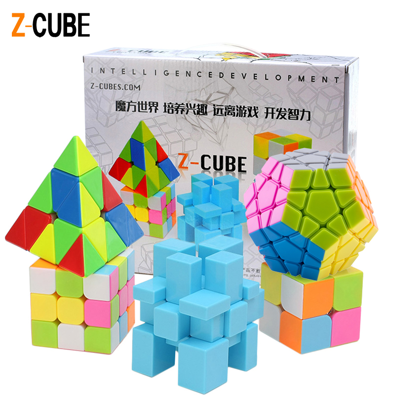 ZCUBE 5pcs /Set Colorful Magic Cube Triangle & Dodecahedron & Mirror Cube 2x2 & 3x3 Cube Speed Stickerless Puzzle Toy Gift -45 zcube set 4pcs box carbon fiber neo cube dodecahedron 2x2 3x3 4x4 5x5 skew cube speed puzzle toy gift
