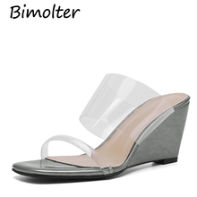 Bimolter  Hot 2019 Summer Slippers Wedges Sandals Fashion Transparent PVC shoes New for Ladies Pink Green Yellow FC044