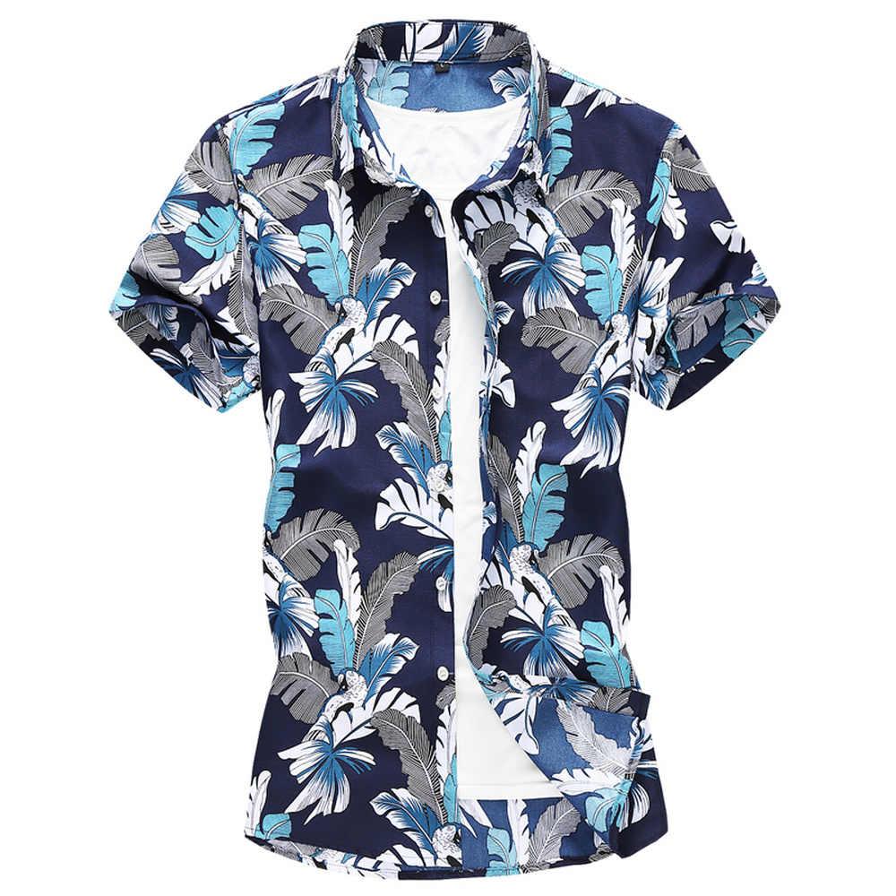 新夏メンズ半袖ビーチアロハシャツ 2019 カジュアル花の花プリントシャツプラスサイズ M-5XL 6XL 7XL トップス服