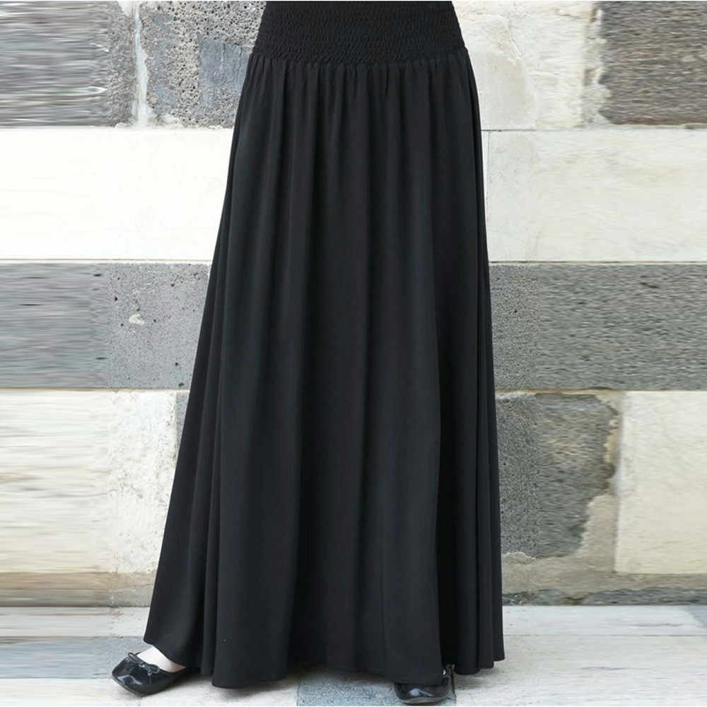 2019 Women Long Maxi Pleated Skirt High Waist Elascity Casual Party Skirt Solid Color plus size Loose long skirts for women #626