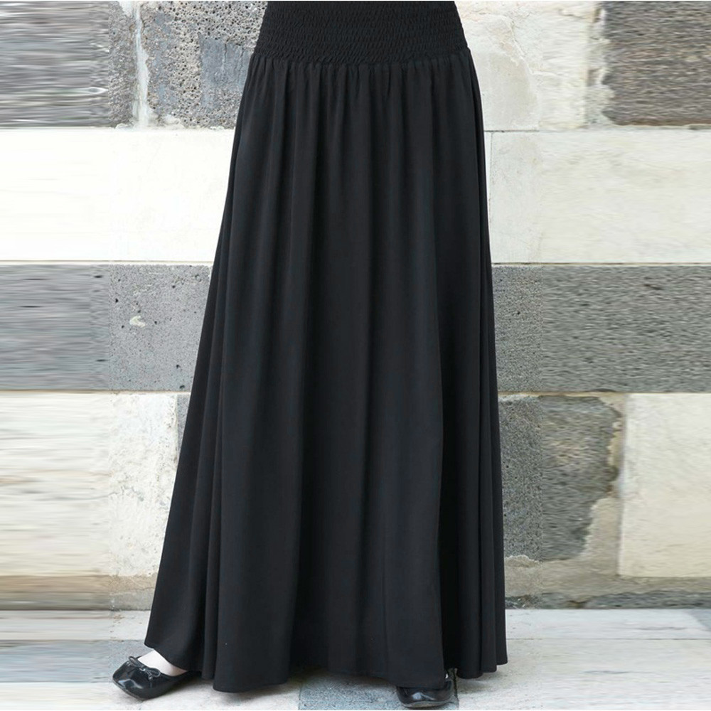 Pleated-Skirt Maxi Loose Elascity Long High-Waist Solid-Color Plus-Size Women Casual title=