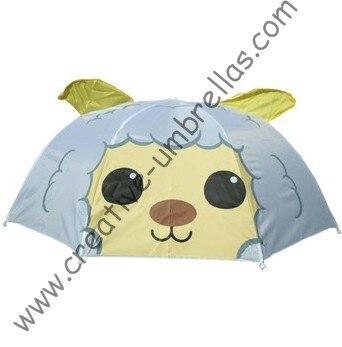 Enfants parapluie enfant parapluie de dessin animé-Petit mouton automatique open.8mm manche en métal et nervures cannelées, sûr enfants parapluies