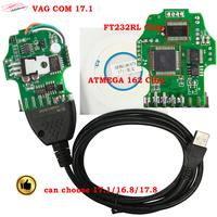 2018 High Quality VAG COM 17 1 Obd2 Diagnostic Cable With FT232RL ATMEGA162 Chip Vag Can