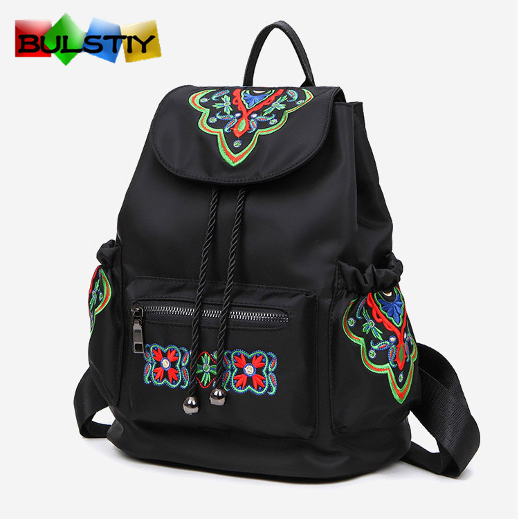 Leather Backpack Mochilas Escolar Brand School Women Bags 2017 Casual Mochila Teenagers Waterproof Oxford National Embroidery