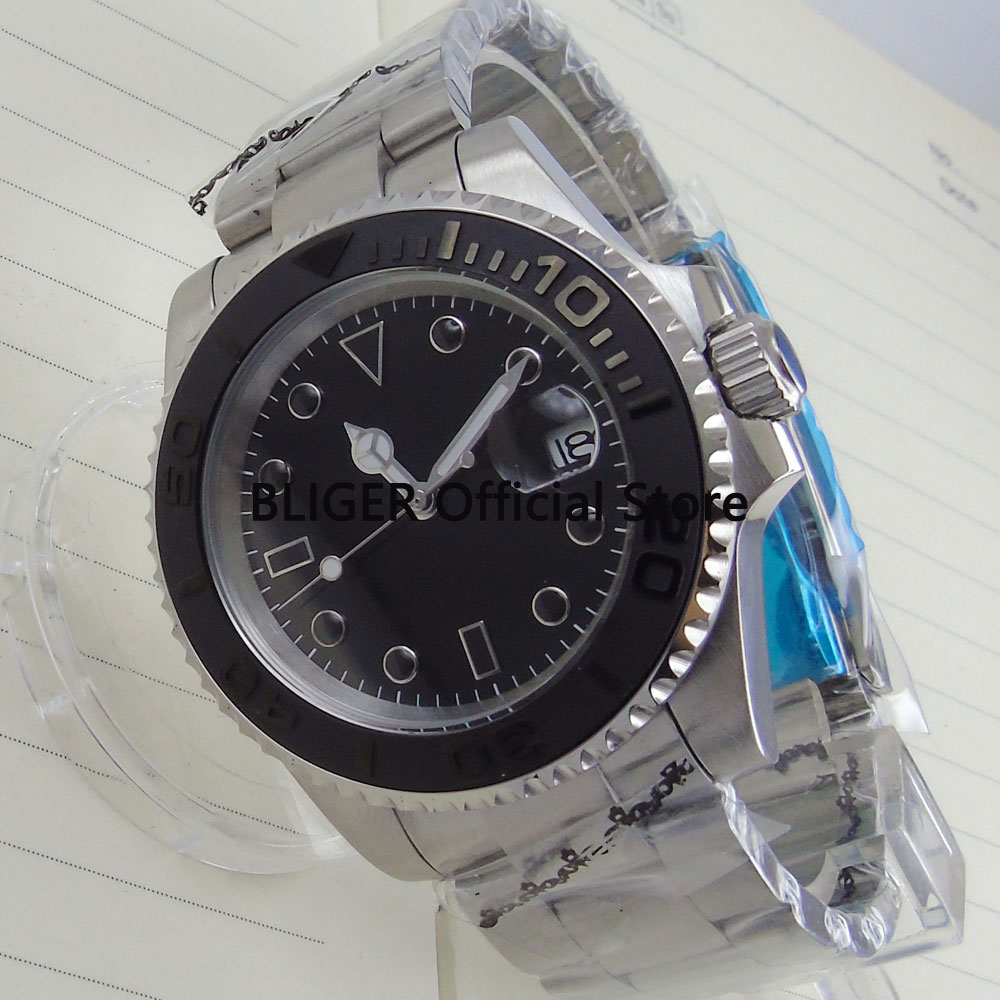 BLIGER 40mm Black Sterile Dial Ceramic Bezel Luminous Marks Sapphire Stainless Steel Band Automatic Movement Men's Watch B15 колонка yamaha tsx b15 black