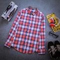 Buena Calidad de la Tela Escocesa Impreso Hombres Camisas de Franela De Manga Larga Slim Fit 2016 Nueva Moda de Primavera y Otoño Azul y Blanco, rojo y Blanco