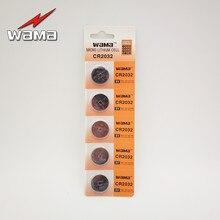 Bateria de Célula tipo Moeda 5 Unidades e pacote Wama 3 V Cr2032 Botão Br2032 Ea2032c Dl2032 Ecr2032 CR 2032 Li-ion de Lítio Remoto Carro Baterias