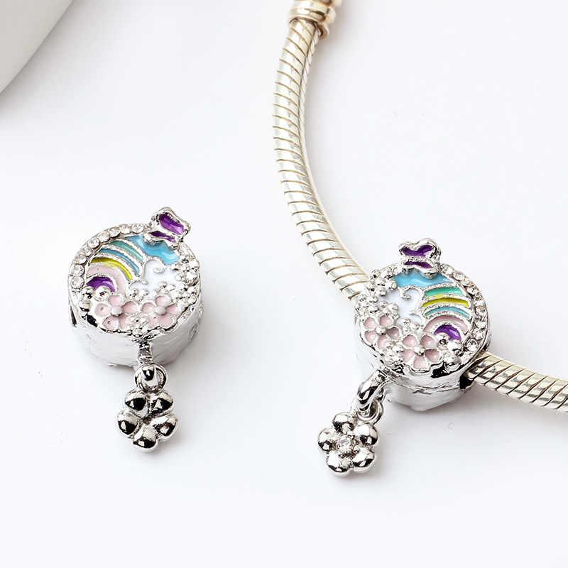 Baru Asli Berlapis Perak Enamel Kupu-kupu Headphone Dumbo Liontin Menjuntai Cocok Pandora Gelang Kalung DIY Perhiasan Wanita