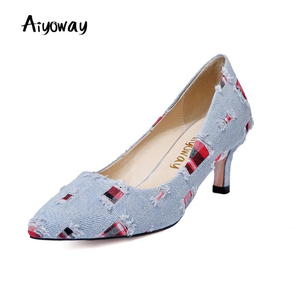 Dames talons bout pointu talon bas Denim pompes automne printemps décontracté femmes chaussures confortable robe de soirée chaussures sans lacet Aiyoway
